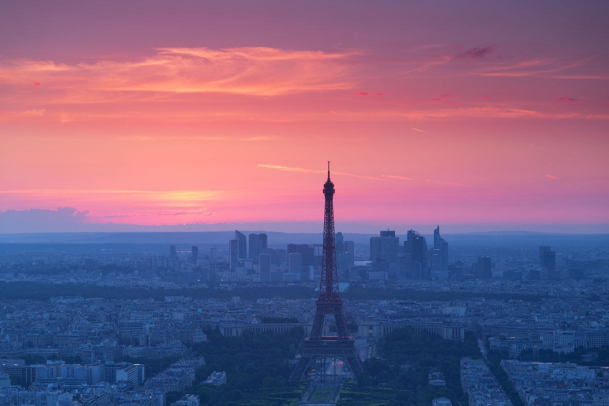 Paris view from above from Montparnasse Tower at sunset